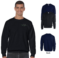 Views of black and navy colored sweatrshirts with front and back views.