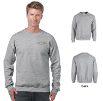 Heather colored Gildan 18000 sweatshirt with front and back views.