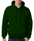 Forest green color #18500 Gildan Adult Heavy Blend Hooded Sweatshirt.