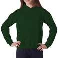 Forest green color Gildan 18500B hooded sweatshirt for girl scout troops. Add a white colored troop logo.