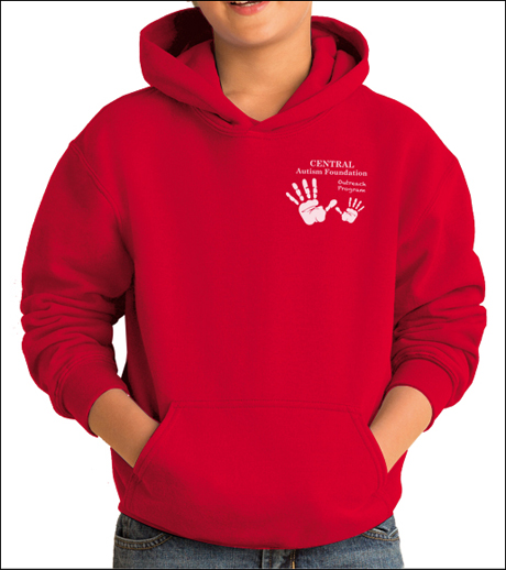 Custom printed Gildan 18500B Hooded Sweatshirt for children. Buy custom hoodies with your logo printed onto the front.