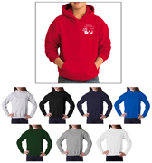 Gildan 18500B custom printed hoodies for children, schools and sporting events. These are preshrunk 50% Cotton/50% Polyester material.