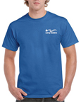 Gildan 2000 reflex blue colored t-shirts.