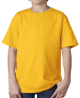 Gold color Gildan 2000B Youth Ultra Cotton T-Shirts for boys and girls clubs.