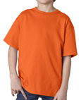 Orange colored Gildan 2000B Youth Ultra Cotton T-Shirts for boys and girls.