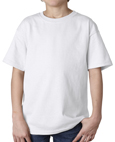 White colored Gildan 2000B Youth Ultra Cotton T-Shirts for boys and girls.