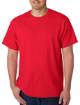 Gildan 5000 red colored t-shirts.