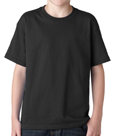 Black colored Gildan 5000B Youth Heavy Cotton T-Shirts for Kids. Order custom printed t-shirts for schools, camps and special events.