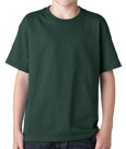 Forest green color Gildan 5000B Youth Heavy Cotton T-Shirts for children.