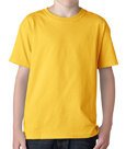 Gold color Gildan 5000B Youth Heavy Cotton T-Shirts for boys and girls.