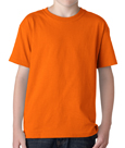 Orange colored Gildan 5000B Youth Heavy Cotton T-Shirts for boys and girls.