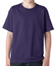 Purple colored Gildan 5000B Youth Heavy Cotton T-Shirts for youth.