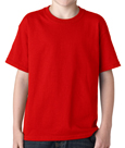 Red colored Gildan 5000B Youth Heavy Cotton T-Shirts for children.