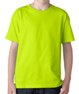 Safety green color Gildan 5000B Youth Heavy Cotton T-Shirts for children.