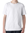 White colored Gildan 5000B Youth Heavy Cotton T-Shirts for boys and girls.