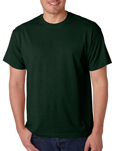Gildan 8000 forest green colored t-shirts.