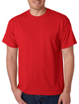 Gildan 8000 red colored t-shirts.