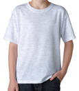 Ash colored Gildan 8000B Youth DryBlend Cotton/Polyester t-shirts for children.