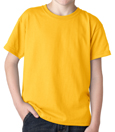 Gold color Gildan 8000B Youth DryBlend Cotton/Polyester t-shirts for boys and girls clubs.