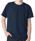 Navy blue color Gildan 8000B Youth DryBlend Cotton/Polyester t-shirts for schools and sports camps.