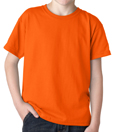 Orange colored Gildan 8000B Youth DryBlend Cotton/Polyester t-shirts for boys and girls.