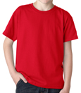 Red colored Gildan 8000B Youth DryBlend Cotton/Polyester t-shirts for girl scout troops.