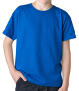 Royal blue colored Gildan 8000B Youth DryBlend Cotton/Polyester t-shirts for public schools and sports teams.