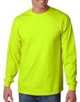 Gildan G2400 safety green colored t-shirts.