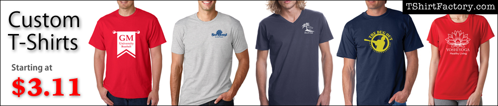 Custom t-shirts starting at $3.11 each. Order custom printed t-shirts for your party or corporate event.
