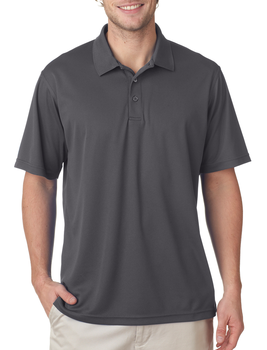 Charcoal color - #8210 UltraClub Men's Cool & Dry Mesh Pique Polo Shirt with custom embroidery.