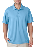 Columbia Blue color - #8210 UltraClub Men's Cool & Dry Mesh Pique Polo Shirt with custom embroidery.