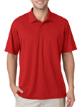 Red color - #8210 UltraClub Men's Cool & Dry Mesh Pique Polo Shirt with custom embroidery.