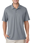 Silver color - #8210 UltraClub Men's Cool & Dry Mesh Pique Polo Shirt with custom embroidery.
