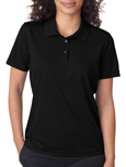 Black colored UltraClub 8210W Ladies Cool & Dry Mesh Pique Polo Shirts with Embroidery.