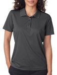 Charcoal color UltraClub 8210W Ladies Cool & Dry Mesh Pique Polo Shirts with Embroidery.