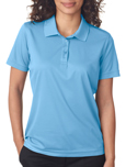 Columbia Blue colored UltraClub 8210W Ladies Cool & Dry Mesh Pique Polo Shirts with Embroidery.