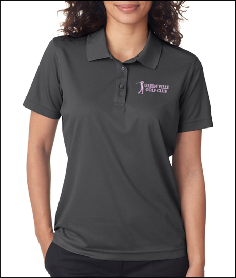 UltraClub 8210W Ladies Cool & Dry Mesh Pique Polo Shirts with Embroidery.