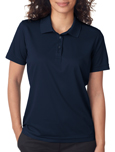Navy colored UltraClub 8210W Ladies Cool & Dry Mesh Pique Polo Shirts with Embroidery.