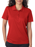 Red colored UltraClub 8210W Ladies Cool & Dry Mesh Pique Polo Shirts with Embroidery.