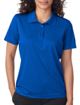 Royal blue color UltraClub 8210W Ladies Cool & Dry Mesh Pique Polo Shirts with Embroidery.