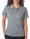 Grey colored UltraClub 8210W Ladies Cool & Dry Mesh Pique Polo Shirts with Embroidery.