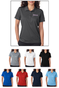 Group of UltraClub 8210W Ladies Cool & Dry Mesh Pique Polo Shirts with Embroidery.