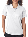 White colored UltraClub 8210W Ladies Cool & Dry Mesh Pique Polo Shirts with Embroidery.