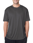 UltraClub 8420 Cool & Dry Sport Performance Interlock charcoal colored t-shirts.