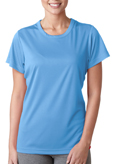 Columbia Blue colored UltraClub 8420W Ladies' Cool & Dry Sport Performance Interlock Tee Shirt.