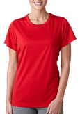 Red colored UltraClub 8420W Ladies' Cool & Dry Sport Performance Interlock Tee Shirt.