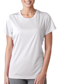 White colored UltraClub 8420W Ladies' Cool & Dry Sport Performance Interlock Tee Shirt.