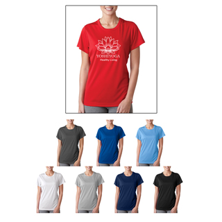 UltraClub Ladies' Cool and Dry Sport T-shirt available in red, white, green, black, heather, navy and royal.