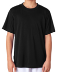 Black colored UltraClub 8420Y Youth Cool & Dry Sport Performance Interlock black colored t-shirts.