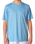 Columbia blue color UltraClub 8420Y Kids Cool & Dry Sport Performance Interlock Columbia blue colored t-shirts.